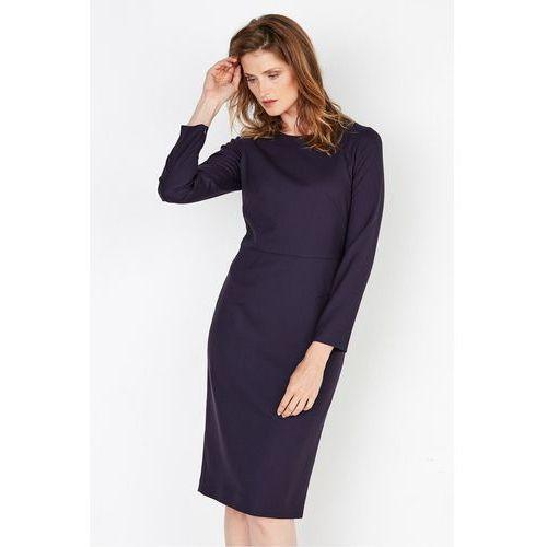 Fioletowa sukienka z wełny dziewiczej - Patrizia Aryton, 1 rozmiar