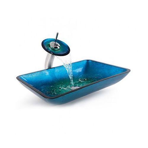 Zoja Szklana umywalka + bateria szkło niebieskie