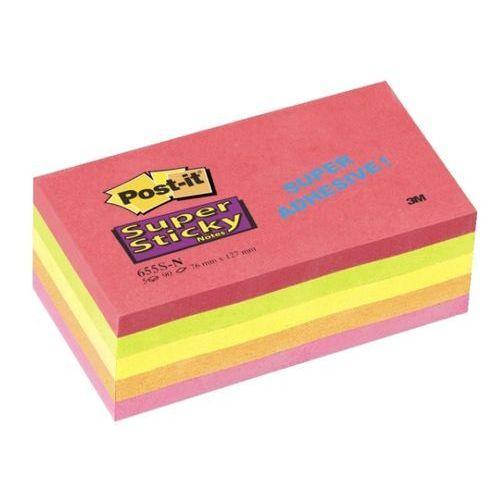 POST-IT Bloczek SUPER STICKY 655S-N, 76 x 127mm, neonowy, 5 sztuk po 90 kart