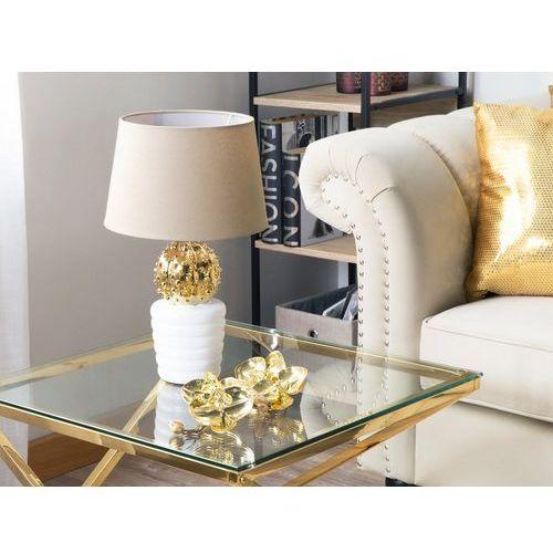 Beliani Lampa stołowa złota/biała 43 cm velise (4260624111445)
