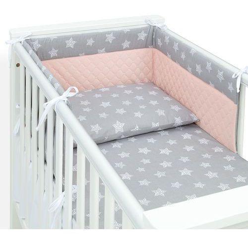 MAMO-TATO Ochraniacz do łóżeczka 60x120 Velvet PIK - Gwiazdy bąbelkowe białe duże / morelowy