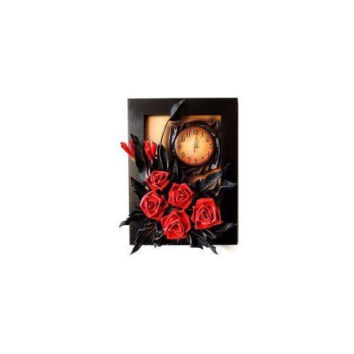 Art deco Róże w kolorze meksykańska czerwień - obraz z zegarem ze skóry - k3z-13