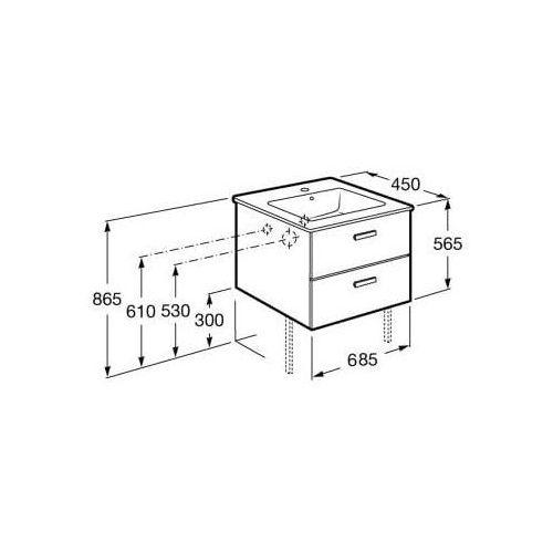 ROCA Victoria Basic Unik szafka z szufladami biały połysk + umywalka 70 A855853806