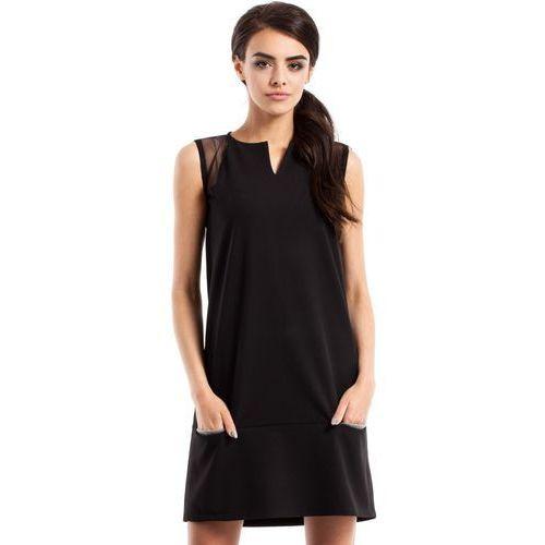 MOE232 Prosta sukienka bez rękawów czarna, w 4 rozmiarach
