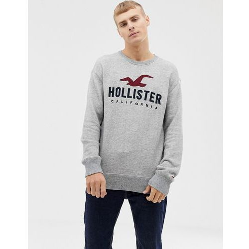 large embroidered chest logo sweatshirt in grey marl - grey, Hollister, XS-L