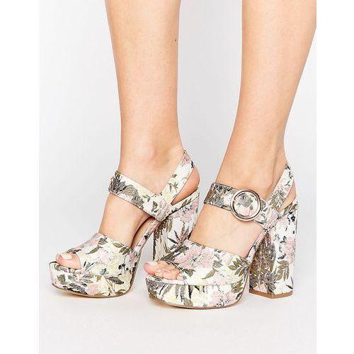 New look  botanical brocade platform heel sandal - pink
