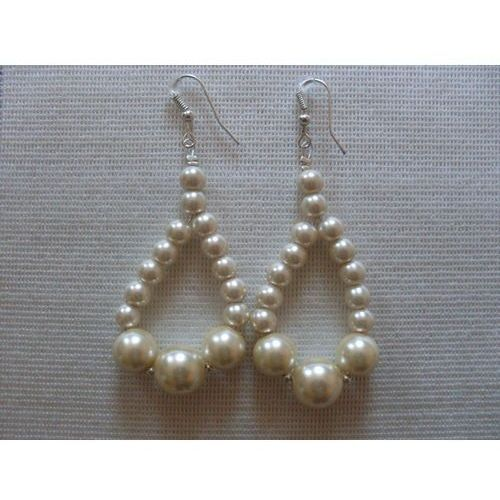 K-00102 Kolczyki z perełek szklanych kremowych, 19-03-12