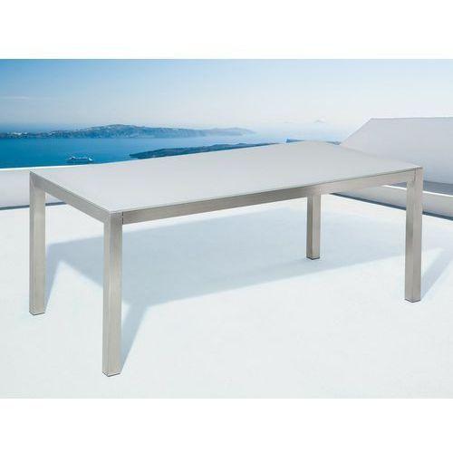 Beliani Stół ogrodowy stal nierdzewna/szkło hartowane biały 180 x 90 cm grosseto