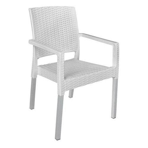 krzesło mp692 ratan lux, białe marki Mega plast