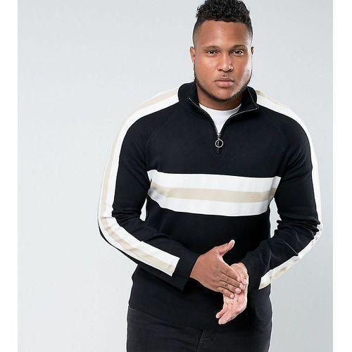 Bellfield plus jumper with half zip in retro colour block - black