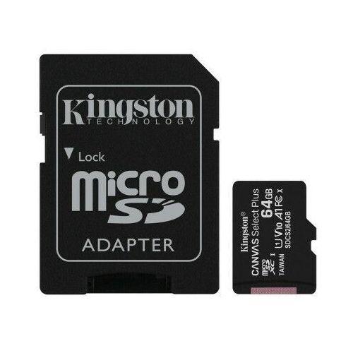 Kingston karta pamięci microSDXC Canvas Select Plus (64GB | class 10 | UHS-I | 100 MB/s) + adapter, 8_2244562