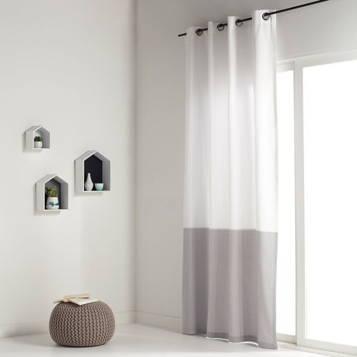 Zasłona dwukolorowa, 100% bawełna, z przelotkami, aguri, marki La redoute interieurs