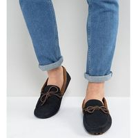 ASOS Wide Fit Driving Shoes In Navy Suede With Brown Leather Detail - Navy, kolor szary
