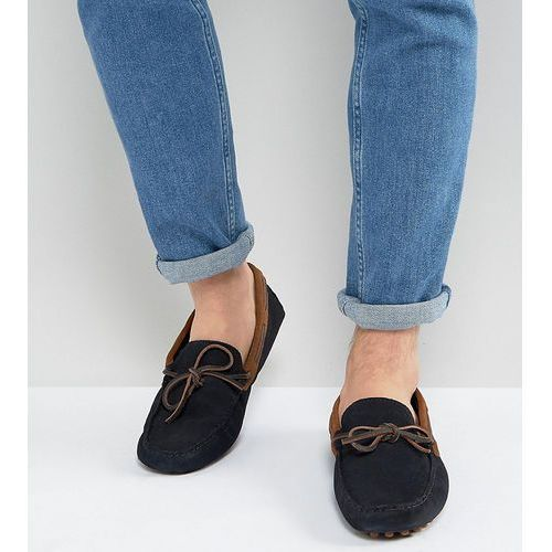 ASOS Wide Fit Driving Shoes In Navy Suede With Brown Leather Detail - Navy