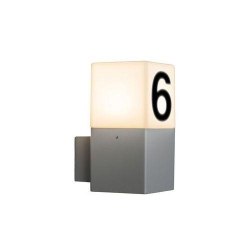 Qazqa Lampa zewnetrzna scienna denmark jasnoszara z numerem domu