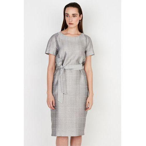 Sukienka z jedwabiem w kratę - Patrizia Aryton, 1 rozmiar