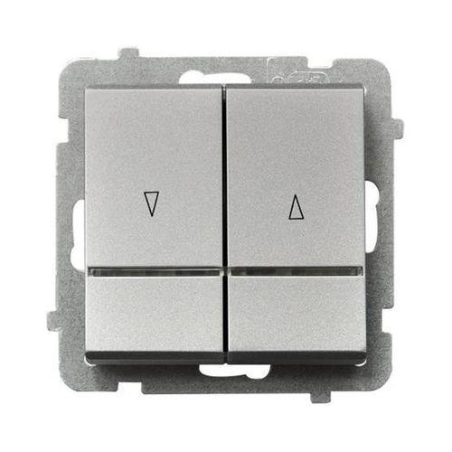 Łącznik żaluzjowy Ospel Sonata ŁP-7RS/M/38 10AX 2200W srebrny mat z podświetleniem