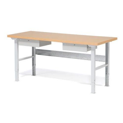Stół warsztatowy ROBUST, z regulacją wysokości, 2 szuflady, 800x2000 mm