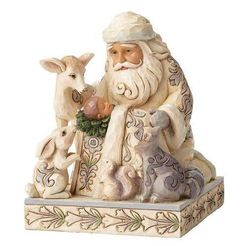 Biały mikołaj cud w świetle księżyca miracle in the moonlight (white woodland santa with baby jesus 4053687 figurka ozdoba świąteczna marki Jim shore