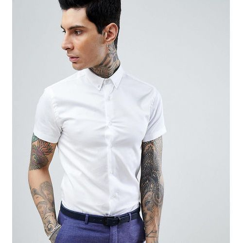 skinny short sleeve shirt with button down collar - white, Heart & dagger, XS-S