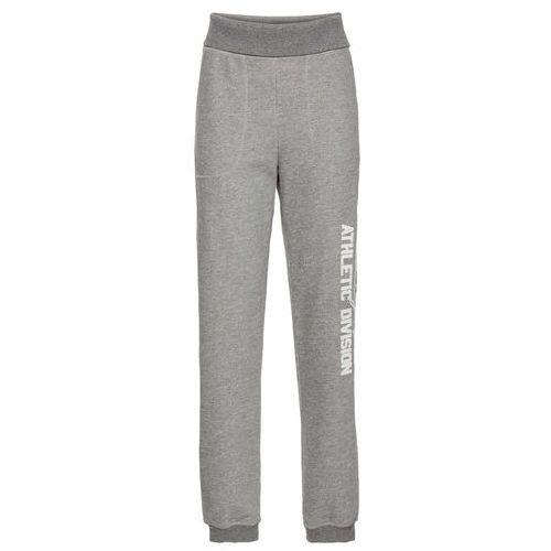 Spodnie sportowe z wywijanym paskiem, długie  szary melanż marki Bonprix