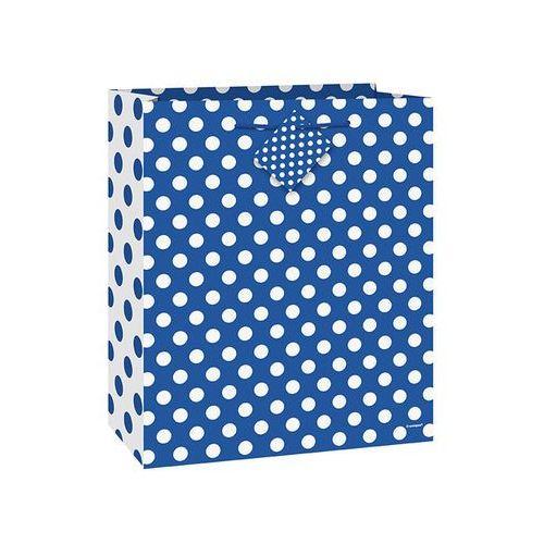 Unique Torebka prezentowa niebieska w białe kropeczki 18x23 cm - 1 szt. (0011179644254)