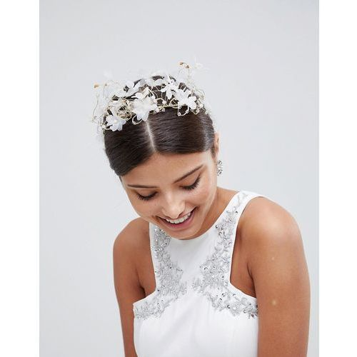 ethereal floral bridal hair crown - white marki Loverocks london