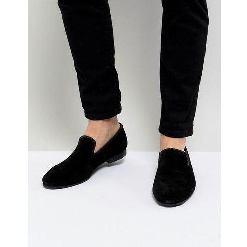 Dune Suede Slipper Loafers Black Suede - Black