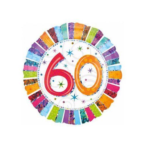 Twojestroje.pl Balon 60 urodziny kolorowy 18'' 46cm (0026635160728)