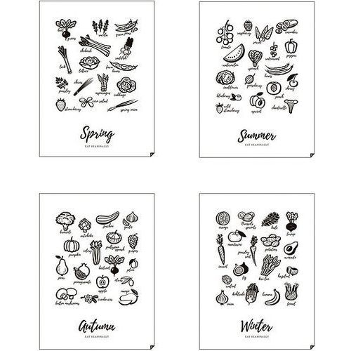Plakat Spring, Summer, Autumn, Winter - Eat Seasonally 4 szt. 40 x 50