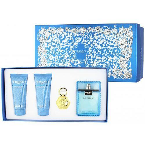 Versace man eau fraiche, zestaw podarunkowy, woda toaletowa100ml + żel pod prysznic 100ml + balsam po goleniu 100ml +breloczek
