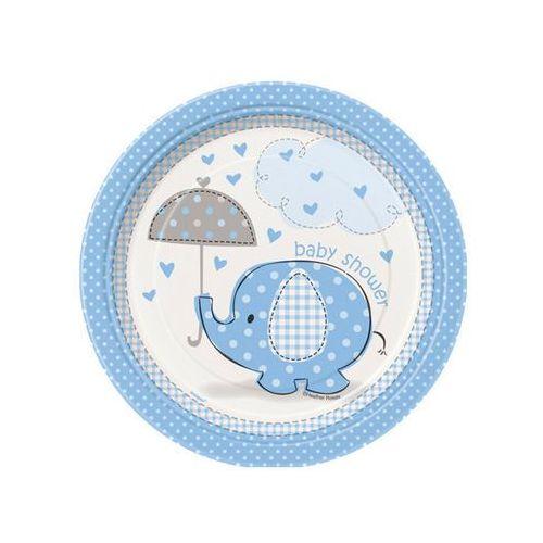 Talerzyki na baby shower słonik z parasolem dla chłopca - 18 cm - 8 szt. marki Unique