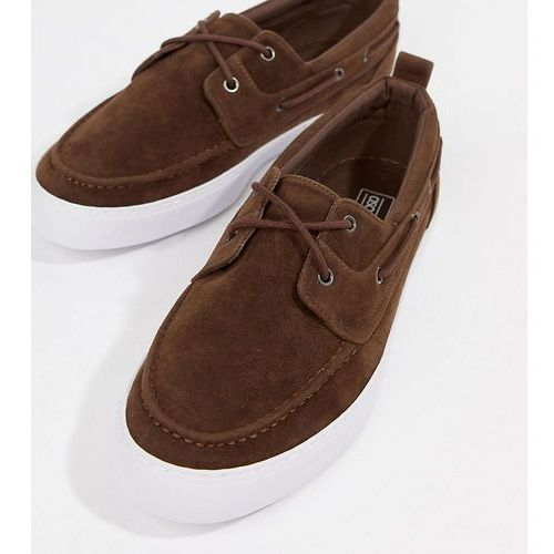 wide fit vegan friendly boat shoes in brown faux suede - brown marki Asos design