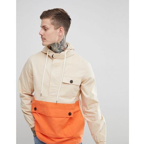 boohooMAN colour block over the head jacket with hood in stone - Stone