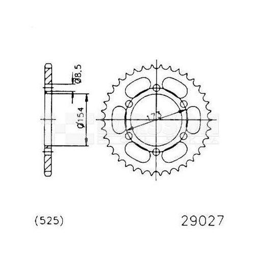 Jt sprockets Zębatka tylna stalowa jt 50-29027-43, 43z, rozmiar 525 2301470 aprilia rst 1000