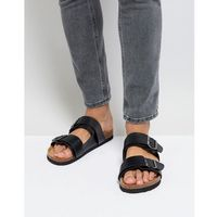 Brave soul double strap sandals in black - black
