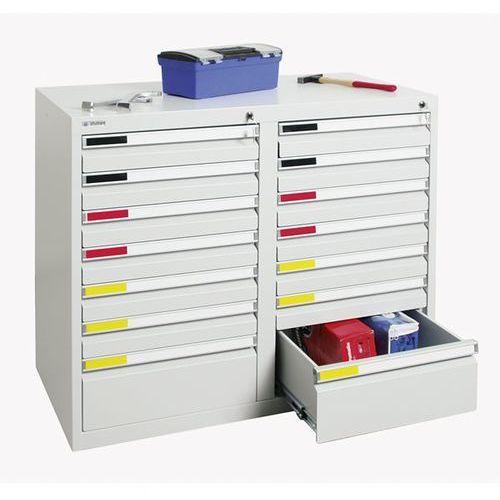 Szafka z szufladami, szer. 1000 mm, 14 szuflad, jasnoszary. System modułowy do ł