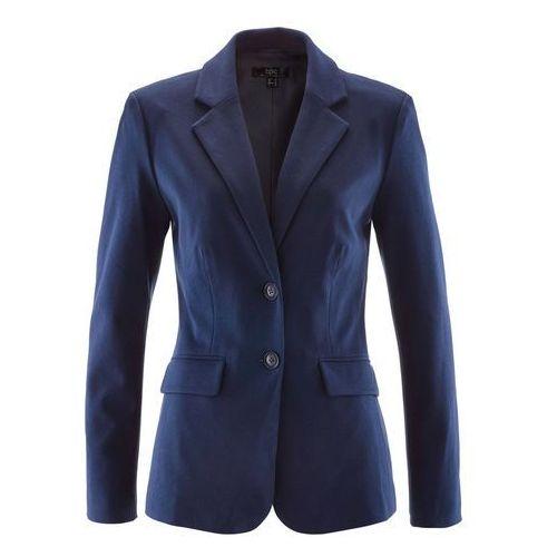 Żakiet bawełniany z dżerseju bonprix ciemnoniebieski, kolor niebieski