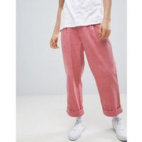 ASOS DESIGN Wide Balloon Trousers In Pink Cord With Pleats - Pink