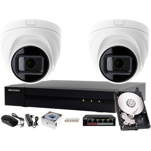 Kompletny zestaw do monitoringu firmy, biura rejestrator ip hwn-4104mh + 2x kamera fullhd hwi-t641h-z + akcesoria marki Hikvision hiwatch