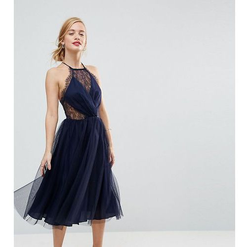 ASOS PETITE Lace Panelled Tulle Mesh Midi Dress - Navy, kolor niebieski