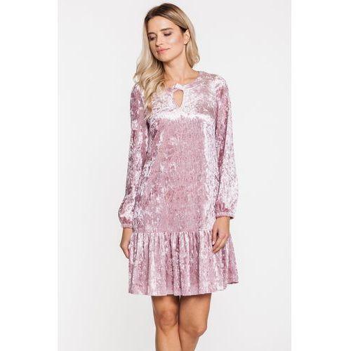Bladoróżowa welurowa sukienka z falbanką - L'ame de Femme
