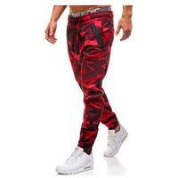 Spodnie męskie joggery moro-czerwone Denley 0952
