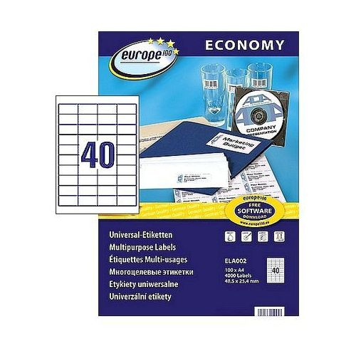 Etykiety samoprzylepne Economy Avery Zweckform 48,5x25,4mm białe 100 ark. A4 ELA002