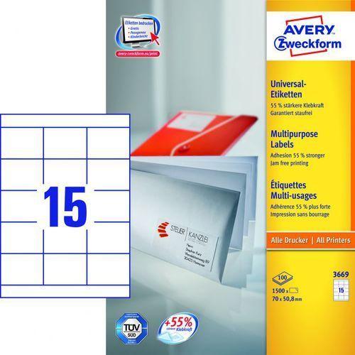 Etykiety uniwersalne Avery Zweckform 3669, 70x50,8mm z kategorii Etykiety biurowe