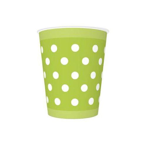Kubeczki urodzinowe zielone w białe kropki - 250 ml - 8 szt. marki Pol