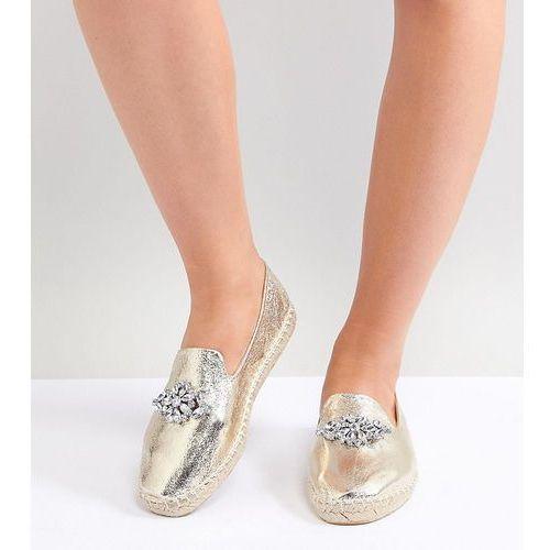 Asos design janeen wide fit embellished espadrilles - gold
