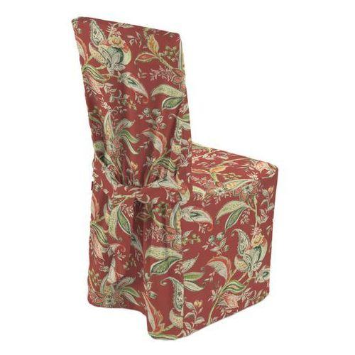 Dekoria sukienka na krzesło, wzory roślinne i kwiatowe na czerwono-ceglanym tle, 45 × 94 cm, gardenia