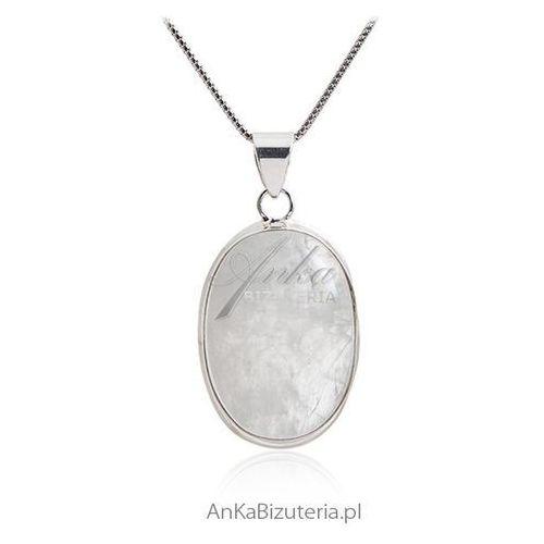 Duży wisior srebrny z kamieniem szczęścia - kamieniem księżycowym xxl marki Anka biżuteria
