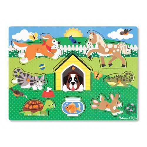 Melissa & doug Drewniana układanka z uchwytami - wzór zwierzątka domowe